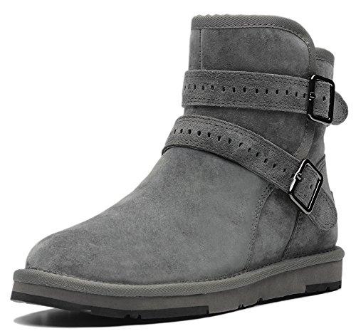 AU&MU AUMU Women's Full Fur Sheepskin Winter Snow Boots Grey Size 7