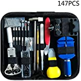 147 PCS Watch Repair Tool Kit Case - Opener Professional Spring Bar Tool Set Bonus A Hammer,Watch Band Link Pin Tool Set with Carrying Case