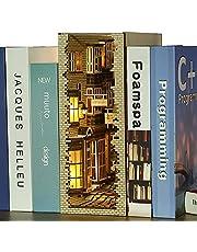 Fsolis 3D träpussel, DIY Dollhouse Miniature Kit Wood Bookends Book Nook Model Building Kit with LED Light, Miniature Dolls House kit Creative Gift BS01
