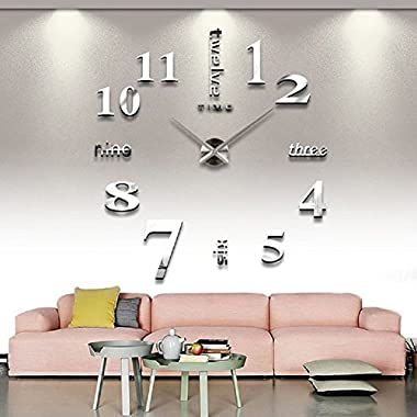CoZroom Modern Frameless Large 3D DIY Wall Clock Kit Decoration Home for Living Room Bedroom