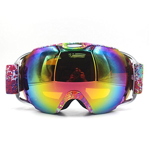 Ski Goggles, FinalBase Snowboard Snowmobile Goggles with Anti-fog UV Protection Dual-Lens Snow Goggles for Men Women and Youth of Outdoor Sports Skiing Skating (001-F a) (Bright S3 White Board)