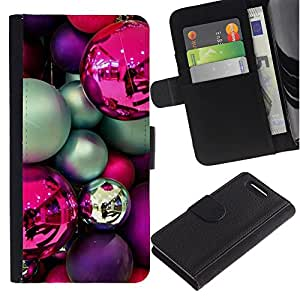 EuroTech - Sony Xperia Z1 Compact D5503 - Christmas Bulbs Purple Pink Teal Decorations - Cuero PU Delgado caso Billetera cubierta Shell Armor Funda Case Cover Wallet Credit Card