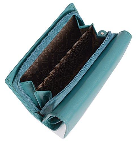 Elettrico Verde Nappa Portamonete Portafoglio Saddler Con In Blu Chiusura E Zip Pelle Acqua Trifold 6w7Pf