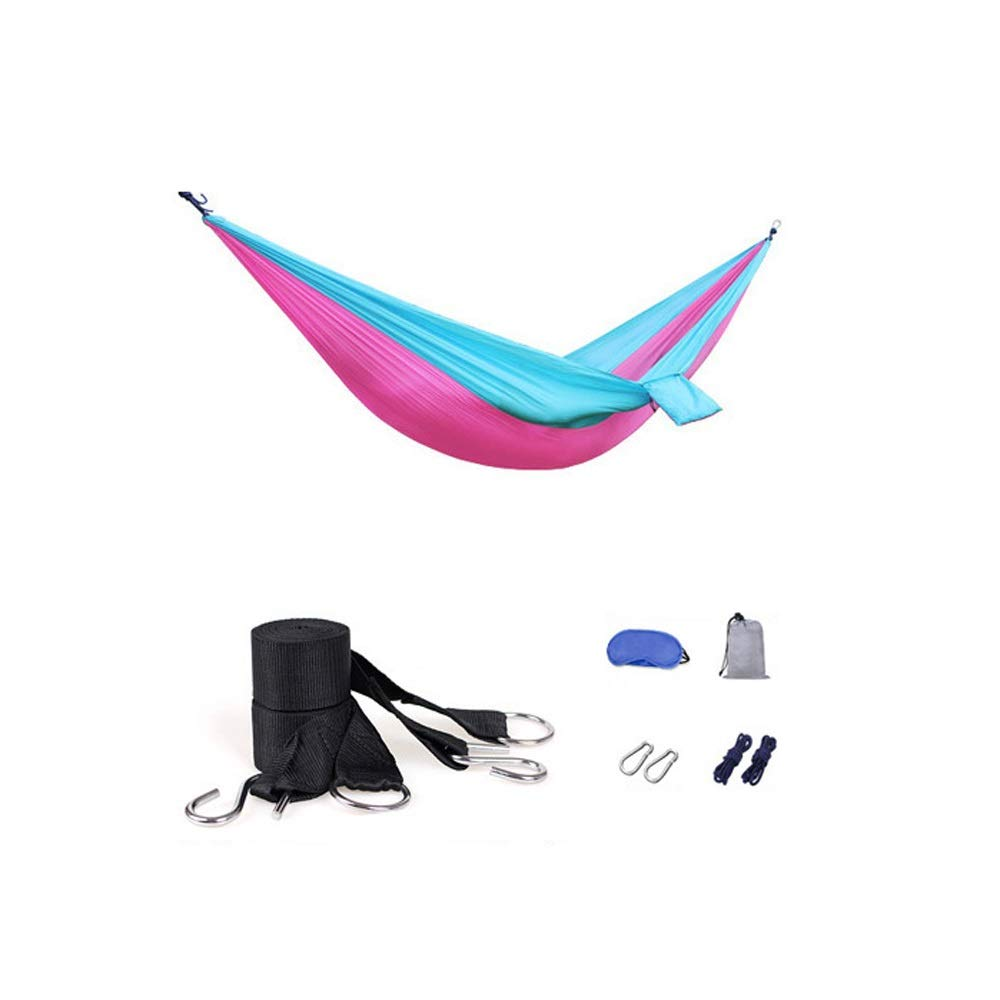A Hdcwz Hammock Double Exterior Parachute Cloth Indoor Student Bedroom Hammock Bedroom Swing Tourism Mountaineering Camping Picnic Thin and Light Hammock