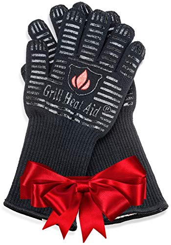 BBQ Gloves Extreme Heat Resistant for Baking, Smoking, Cooking, Grilling, Barbecue, Fireplace, Camping - More Flexibility for Kitchen or Outdoor Than Oven Mitts, Protect Up To 932°F, 14 inch Long Cuff (Than Oven Mitts)