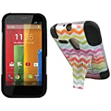 Maxtron Rugged Hybrid Hard T-Stand Dual Armor Case with Screen Proctor for Motorola Moto G XT1032 - Retail Packaging - Electric