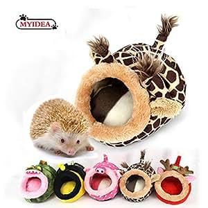 MYIDEA Guinea pigs Nest - Hedgehog House,Lizard Bedding, Chinchillas,Small Animal Bedding/Cube/House, Habitat, Lightweight, Durable, Portable, Cushion Big New Year Gift (Small Pet - S, Giraffe)