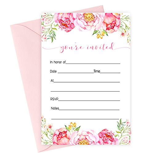 Floral Invitations and Pink Envelopes - Pack of 15 -