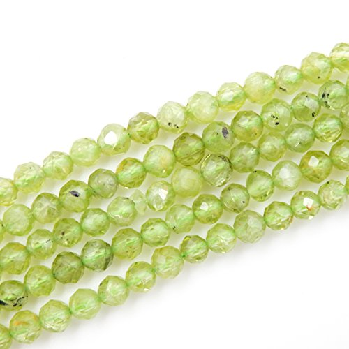 2-4mm Faceted Gemstone Beads for Jewelry Making, Sold per Bag 5 Strands Inside (Peridot, 2mm)