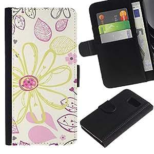 All Phone Most Case / Oferta Especial Cáscara Funda de cuero Monedero Cubierta de proteccion Caso / Wallet Case for Samsung Galaxy S6 // Drawing Wallpaper Crayon Art