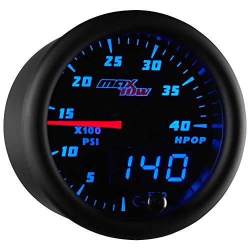 MaxTow Double Vision 4,000 PSI High Pressure Oil Pressure HPOP Gauge - for 1994-2003 7.3L & 2003-2007 6.0L Ford Power Stroke Diesel Engines - Black Gauge Face - Blue LED Dial - 2-1/16