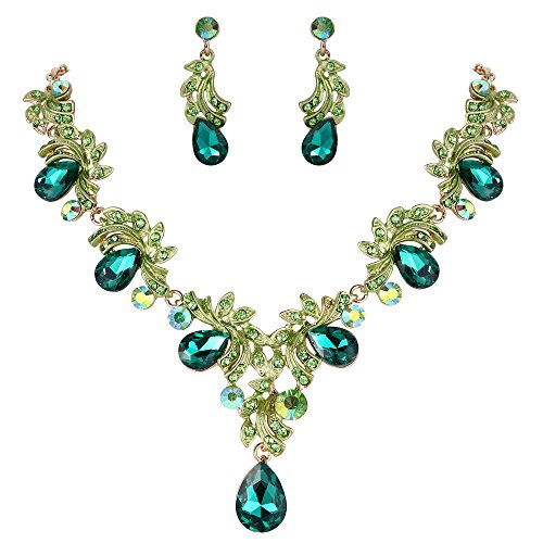 BriLove Wedding Bridal Necklace Earrings Jewelry Set for Women Crystal Teardrop Filigree Leaf Twig Enamel Statement Necklace Dangle Earrings Set Emerald Color Gold-Toned ()