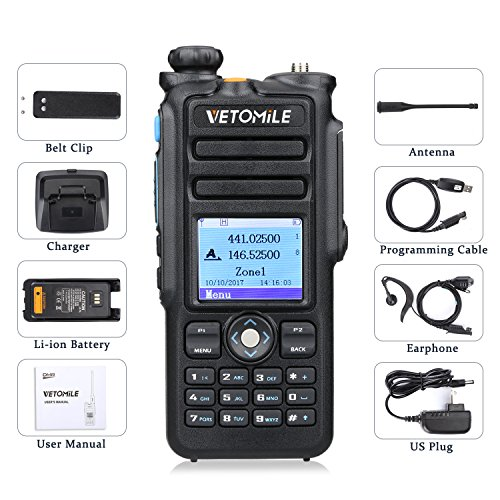 VETOMILE V-2017 Dual Band DMR Digital/Analog Two Way Radio 5W VHF 136-174MHZ & UHF 400-480MHz Walkie Talkie 3000 Channels IP67 Waterproof with GPS Function and Programming Cable by VETOMILE (Image #8)