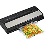 GERYON Vacuum Sealer Machine, Automatic Food Sealer for Food Savers w/Starter Kit|Led Indicator Lights|Easy to Clean|Dry & Moist Food Modes| Compact Design (Silver)