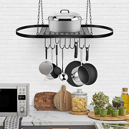 Sorbus Pot and Pan Rack for Ceiling with Hooks — Decorative Oval Mounted Storage Rack — Multi-Purpose Organizer for Home, Restaurant, Kitchen Cookware, Utensils, Books, Household (Hanging Black) by Sorbus (Image #2)