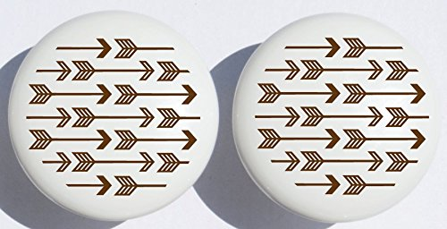 Brown Arrow Print Drawer Knobs/Brown Ceramic Cabinet Pulls Woodland Forest Nursery Decor for Baby Boys Or Girls (Set of Two) Presto Chango Decor Inc.