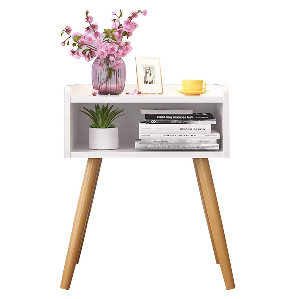 White XIAODONG Bedside Table,Living Room Wood End Table Coffee Table, Bedroom Night Stand, Storage Unit,43x32x62CM. Easy to Move (color   Black)