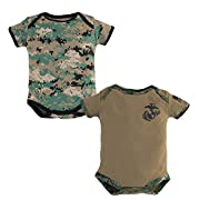 Baby Bodysuits 2 Pk. USMC Woodland Camo and Coyote Brown (0-3 Months)