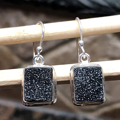 Natural Cluster Black Druzy 925 Solid Sterling Silver Unisex Earrings 25mm long