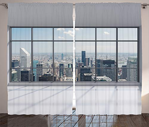 "Ambesonne City Curtains, Clean Office with Big Window Downtown Skyscraper Buildings Domestic Cityscape Art, Living Room Bedroom Window Drapes 2 Panel Set, 108"" X 84"", Grey Blue"