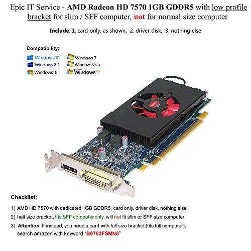 AMD Radeon HD 7570 1GB GDDR5 PCIe x16 DVI DisplayPort Video Card Dell 4C5DK Low Profile Dell Video Card