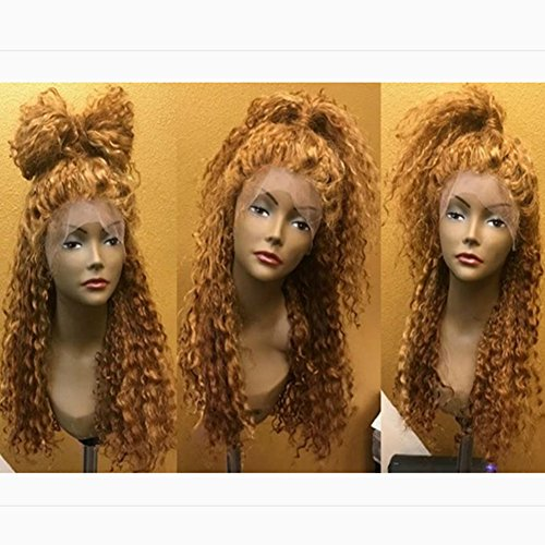 Curly Human Hair Full Lace Wigs 130% Density Brazilian Deep Curly Lace Frontal Wig for Black Women Color #27 (18'', full lace wig) by Dream Beauty