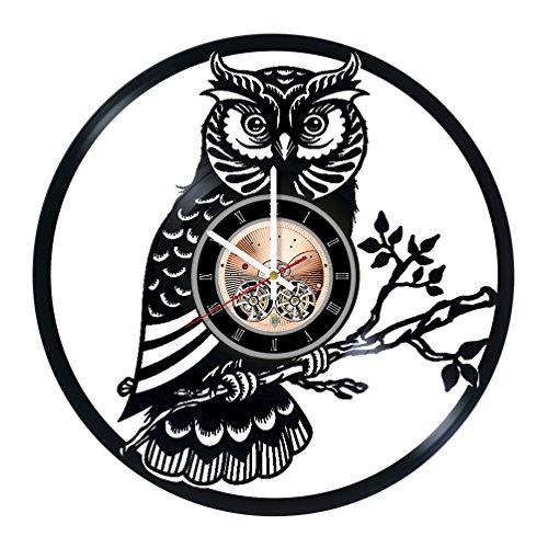 (Night Owl Vinyl Record Wall Clock - Kids Room or Nursery Room wall decor - Gift ideas for children, teens - Nature Unique Art Design)
