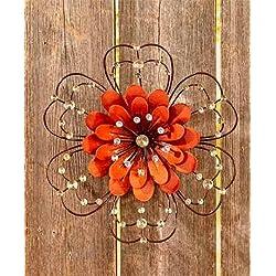 Jeweled Metal Wall Art ( Orange Flower )