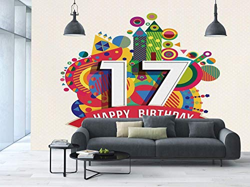 Funky Wall Mural Sticker [ 17th Birthday Decorations,Sweet Seventeen Party with Geometric Castle Boat and Shapes Image,Multicolor ] Self-adhesive Vinyl Wallpaper / Removable Modern Decorating Wall Art