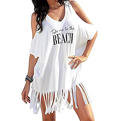 Keepfit Womens Tassel Letters Print Swimwear, Casual Bikini Cover-UPS Beach Dress White