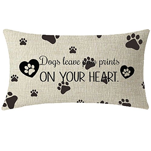 NIDITW Nice Animal Dog Lover Gift With Funny Quote Words Dog Leave Paw Prints On Your Heart Waist Lumbar Throw pillow case Cushion cover pillowcase for Sofa home decorative Rectangle 12
