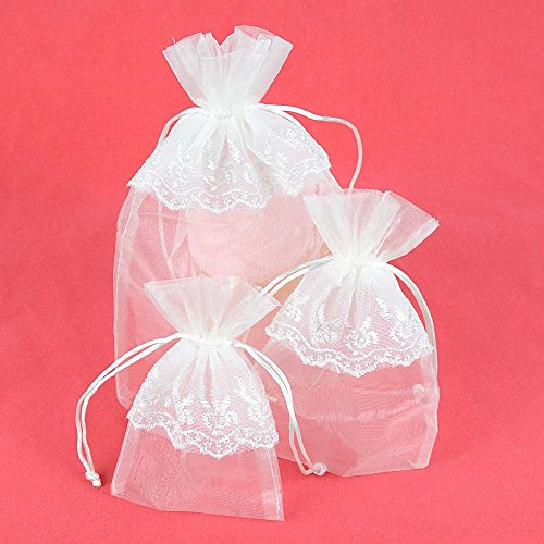 VU100 Wedding Organza Bags/Pouches Lace Flower Decor Drawstrings, Premium Party Favor Jewelry Gift Bags, for Baby Shower Candy Clothes Sachet Storage (6 Packs4x6/5x7/6x9 Inches,White)