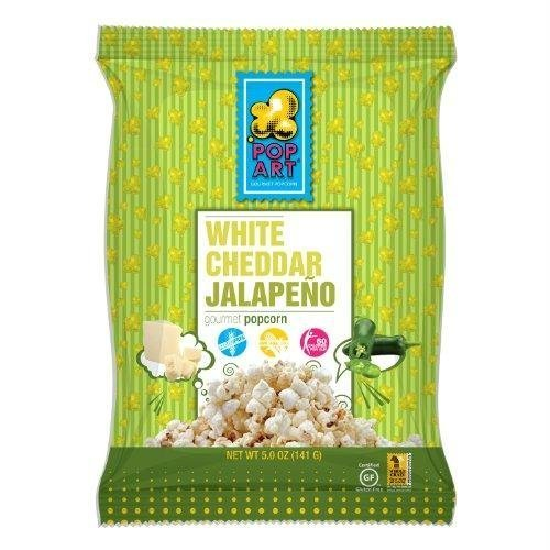 Pop Art Snacks Popcorn White Cheddar Jalapeno, 5 oz, 9 Pack by Pop Art Snacks ()