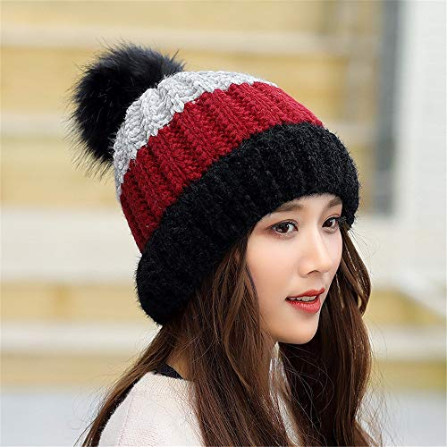 - Gxinyanlong Winter hat, Ladies' Warm line hat, Striped hat, Fashion Knitted hat,Black