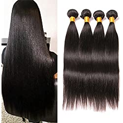 Daiweier Straight Brazilian Hair 4 Bundles 22 24 26 28 Grade 8A Quality Long Hair Weave Real Human Hair Extension Deals On Amazon