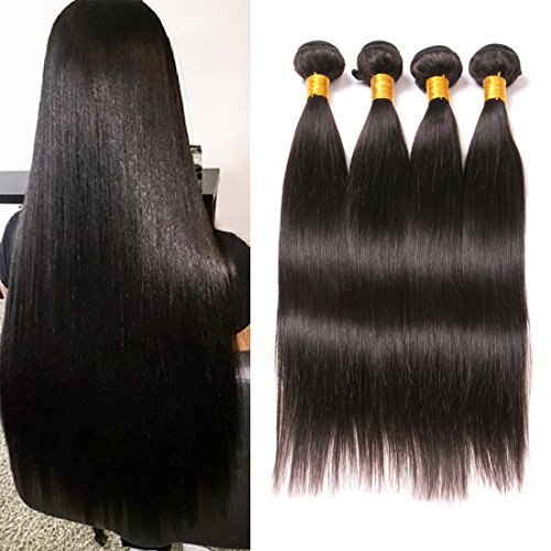 Price comparison product image Daiweier Straight Brazilian Hair 4 Bundles 22 24 26 28 Grade 8A Quality Long Hair Weave Real Human Hair Extension Deals On Amazon