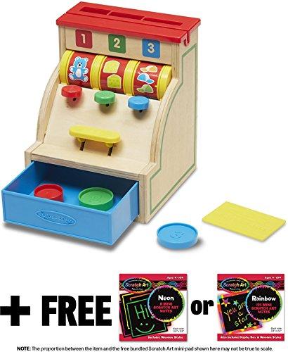 Melissa & Doug Sort & Swipe Toy Cash Register: Classic Toy + Free Scratch Art Mini-Pad Bundle (11990)