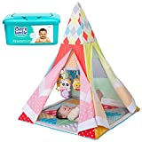 NEW! Infantino Grow-With-Me Infant-to-Toddler Playtime Teepee Activity Gym Center with Musical Toys and Hypoallergenic Baby Wipes
