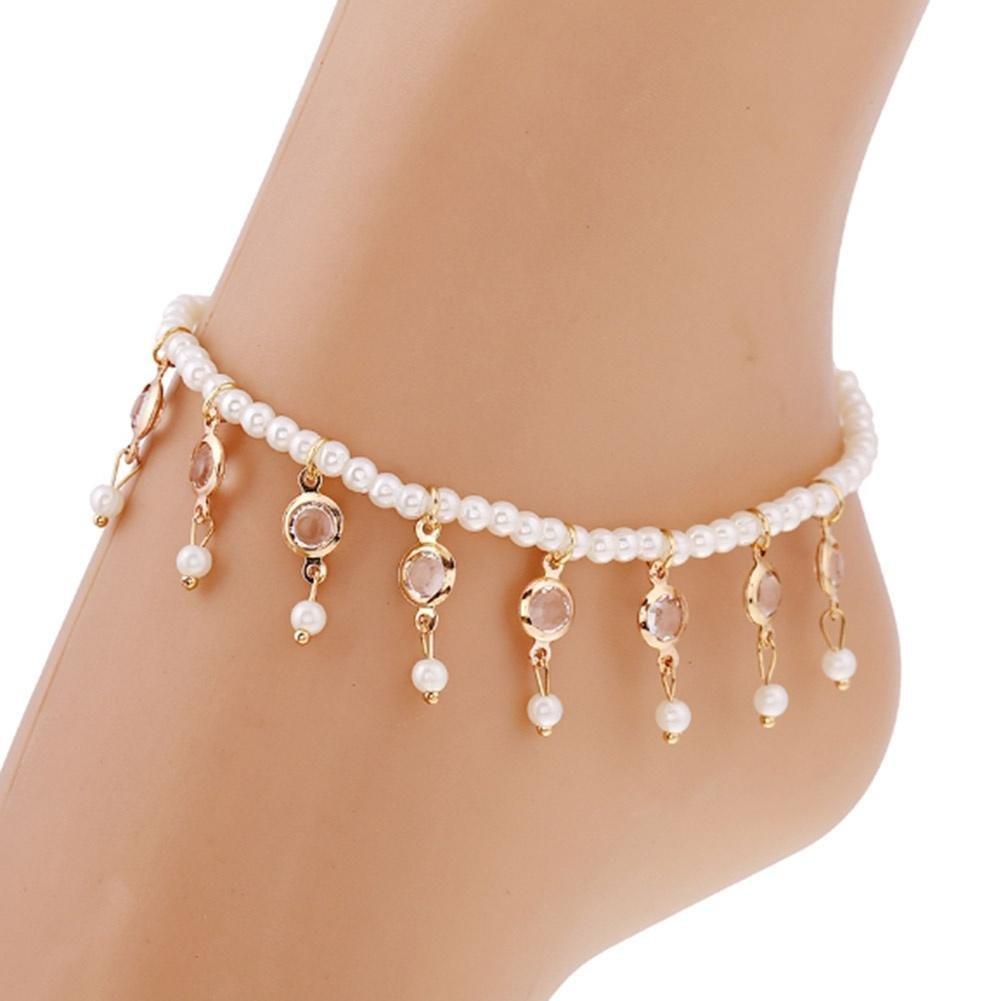 Fine Elegant Beaded Pearl Crystal Fringed Elastic Foot Chain Anklet Qike QB01MEDPW