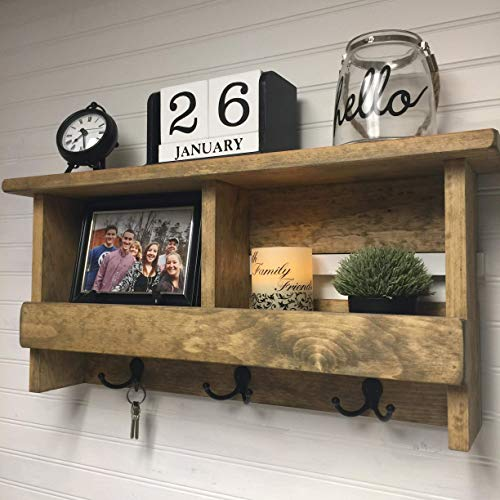 Rustic Wooden Shelf with 3 Dual Hooks-Handcrafted Hanging Entryway Decor Accessory-Choose Your Color-26