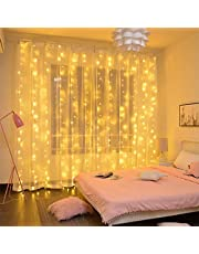 LiyuanQ 300 LED Curtain Flash Starlight, 9.8 9.8Ft Waterproof USB Remote Control Copper Curtain Light Fairy Light String 8 Modes Decor Indoor Outdoor, Wedding, Party, Garden (Warm)