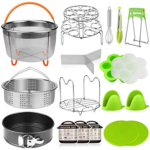 (Aiduy 18 pieces Pressure Cooker Accessories Set Compatible with Instant Pot 6,8 Qt - 2 Steamer Baskets, Springform Pan, Stackable Egg Steamer Rack, Egg Beater, 2 Silicone Trivet Mats)