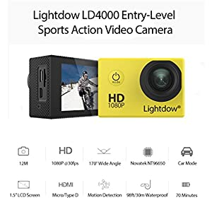 "Lightdow LD4000 1080P HD Sports Action Camera Kit - DSP:NT96650 + 1.5"" LPS-TFT LCD + Bonus Battery + 170° Wide Angle Lens (Yellow)"