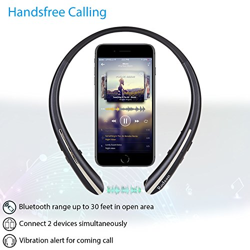 9c5b51e87ee low-cost Rodzon Bluetooth Headphones, Retractable Earbuds Neckband HD  Stereo Wireless Headsets, Bluetooth
