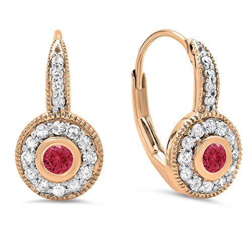 Dazzlingrock Collection 14K Round Ruby & White Diamond Ladies Cluster Millgrain Drop Earrings, Rose Gold