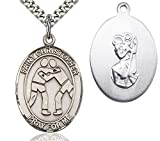 Men's Sterling Silver Saint Christopher Wrestling Oval Medal + 24 Inch Rhodium Plated Chain & Clasp