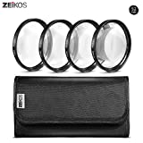 Zeikos 52mm 4 piece high definition Close-Up filter (+1, +2, +4 and +10 Diopters), Metal Rim, Magnification Kit, with Deluxe Case and Miracle Fiber Cloth Set
