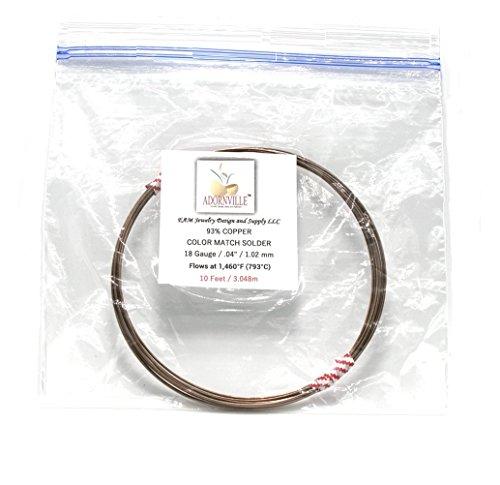 Adornville 93% Copper Solder Improved Color Match 18 Gauge Wire 10-Foot Coils