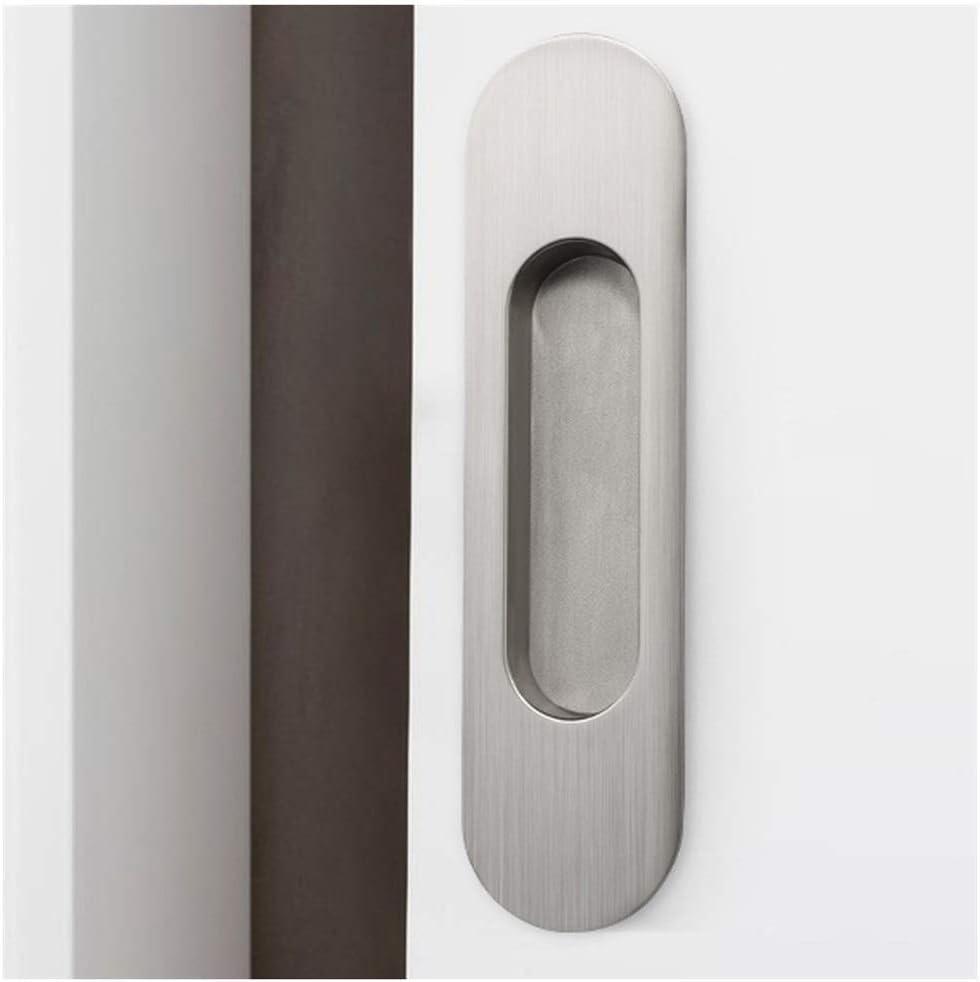Empotrado Granero Puerta corredera Armario cajón aleación de Zinc manija Oculta Empotrado Negro Oval Dedo manija 160mm x 41mm (Color : Silver): Amazon.es: Hogar