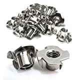 Stainless T-Nuts, 1/4''-20 Inch, (25 Pack), Threaded Insert, Choose Size/Quantity, By Bolt Dropper, Pronged Tee Nut. (1/4''-20 x 7/16'')